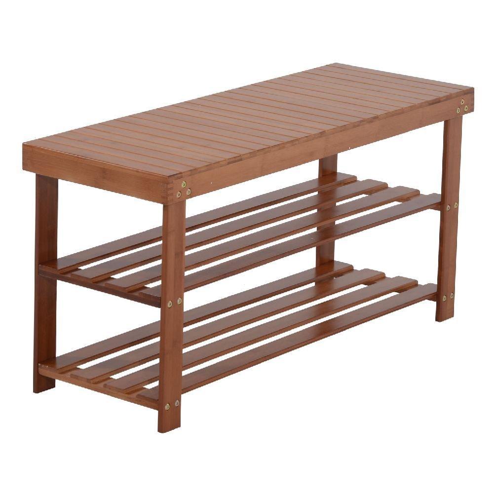amazoncom wood shoe bench seat 2 shelf rack organizer storage entryway furniture red brown kitchen u0026 dining