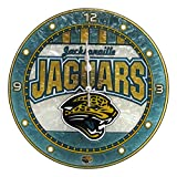 "Jacksonville Jaguars 12"" Art Glass Round Clock"