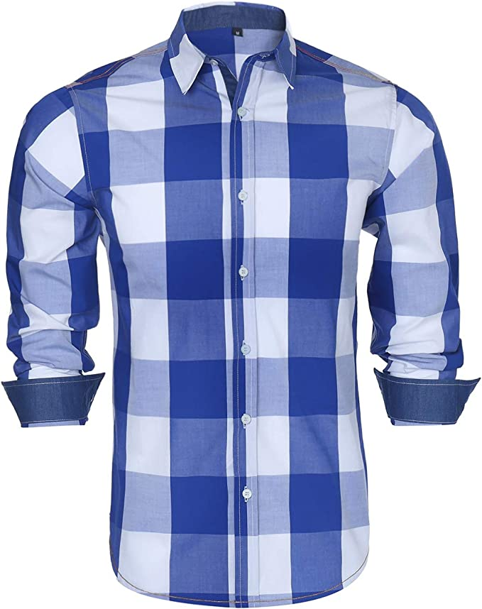 Lutratocro Mens Turn Down Checkered Long Sleeve Print Formal Button Down Shirts
