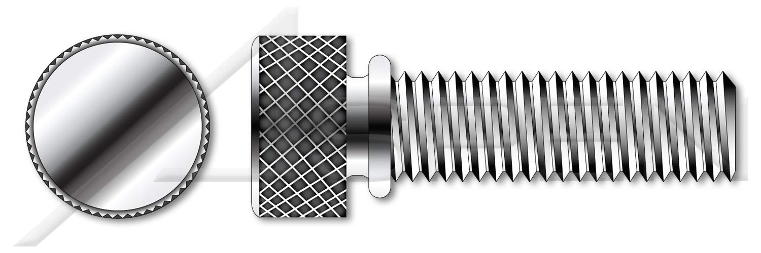(100 pcs) #8-32 X 7/16'', Thumb Screws, Knurled Head with Shoulder, Stainless Steel by ASPEN FASTENERS