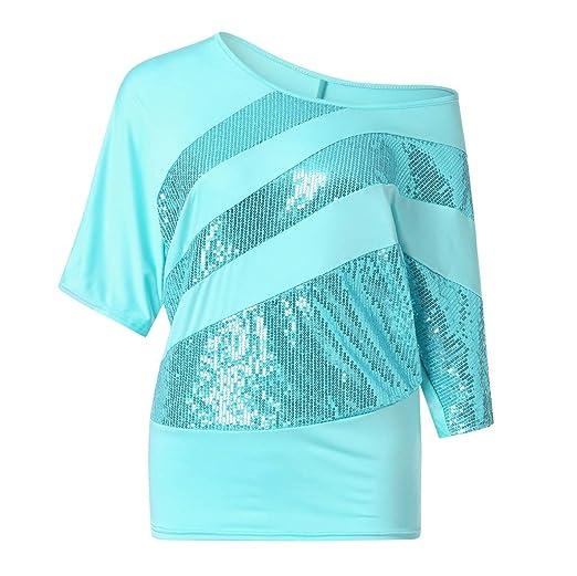 7b35077f9 OrchidAmor Women Sequin Causel T-Shirt Top Cold Shoulder Blouse Plus ...