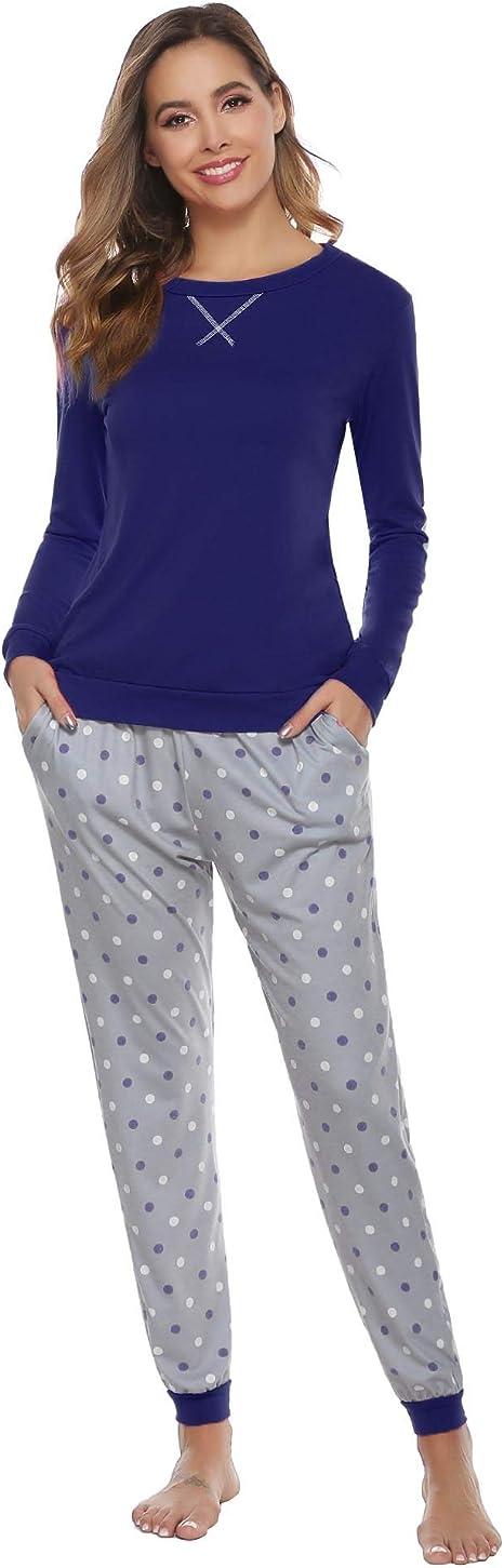 Aibrou Pijamas Invierno Mujer Algodon Mangas Larga Conjunto de ...