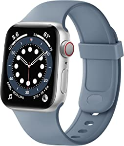 SVISVIPA Sport Bands Compatible with Apple Watch Bands 38mm 40mm, Soft Silicone Wristbands Women Men Replacement Strap for iWatch Series SE/6/5/4/3/2/1,Lavender Gray