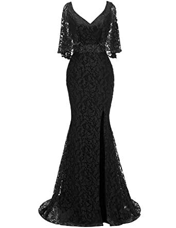 8ae19faf0c9 RJOAM-Women s Mother of The Bride Dresses Long Lace Beaded Split 2019  Column Dresses Evening