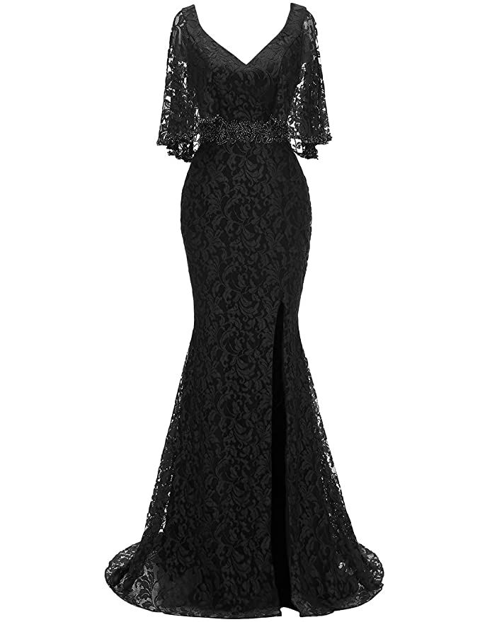 f0893e46ebe RJOAM-Women s Mother of The Bride Dresses Long Lace Beaded Split 2019  Column Dresses Evening Gowns with Cape Sleeves at Amazon Women s Clothing  store