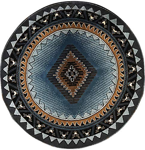 Kingdom South West Native American Round Area Rug Blue & Brown Design D143 (6 Feet 7 Inch X 6 Feet 7 Inch Round)