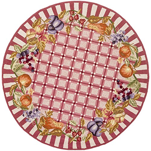 Safavieh Chelsea Collection HK66C Hand-Hooked Rose Premium Wool Round Area Rug (3' Diameter)