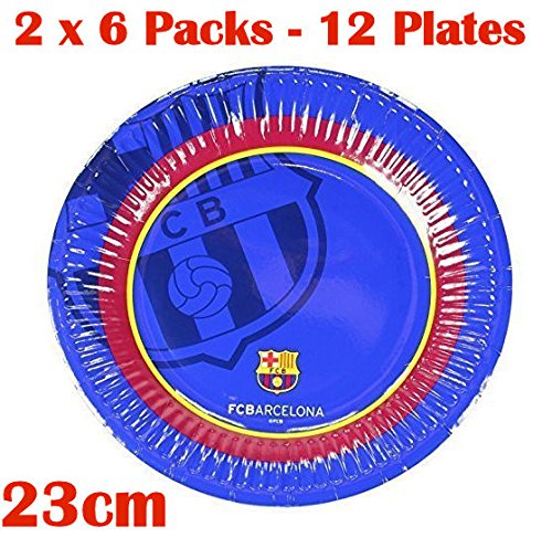 2 x Official Barcelona Soccer Football Club FC Barcelona 6 Pack Paper Party Dinner Plates 23cm Glossy (Barcelona Finish)