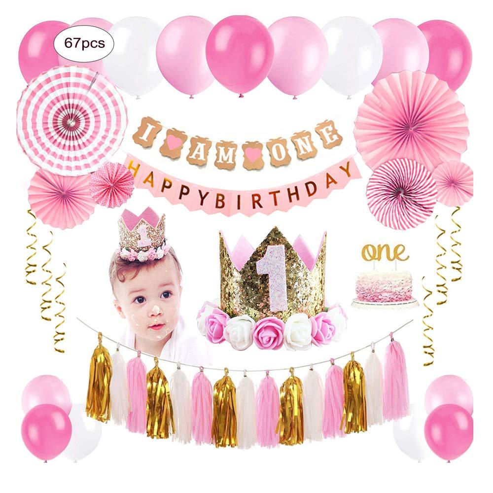 ZNZ DECORACIÓNES para EL Primer CUMPLEAÑOS para BEBÉ - NIÑO NIÑA 1 año Fiesta de Cumpleaños, Globos Pancartas Papel de Abanico Flor y Pastel Topper de ...