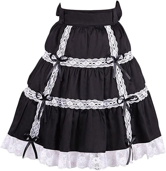 Antaina Negra Encaje Volantes Retro Gotica Kawaii Princesa Lolita ...
