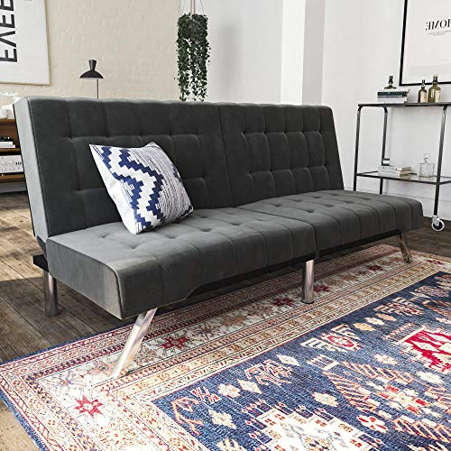(DHP Emily Futon Couch Bed, Modern Sofa Design Includes Sturdy Chrome Legs and Rich Velvet Upholstery, Grey)
