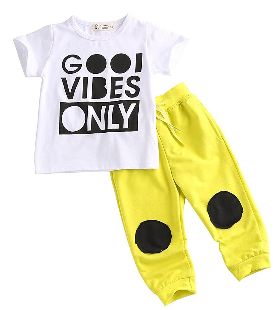 2pcs Casual Baby Boy Word Print T-Shirt + Elastic Pants Clothing Set