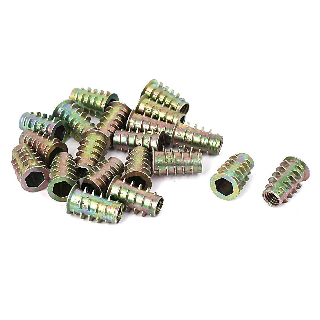 uxcell a16011400ux0237 Furniture Hex Drive Head Threaded Insert Nut M6x17mm for Wood Pack of 20