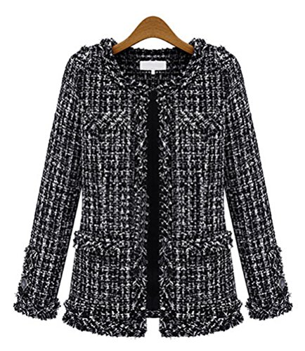 Womens Elegent Plaid Long Sleeve Collarless Bomber Tweed Jacket Coat Blazer M