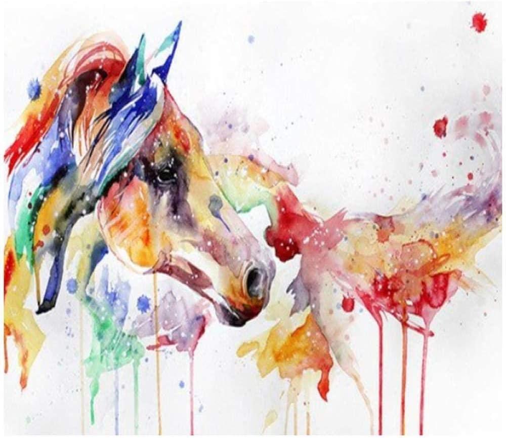 Pintura por números pintura al óleo digital acuarela caballo color conjunto dibujado para niños adultos estudiantes principiantes arte de la pared cuadros lienzo 40 x 50 cm