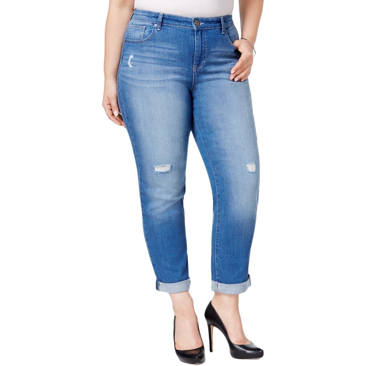 Style & Co. Womens Plus Distressed Ankle Boyfriend Jeans Blue 24W