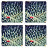 hand mixer soap making - MSD Square Coasters Non-Slip Natural Rubber Desk Coasters design 27005136 Vintage looking Detail of a soundboard mixer electronic device