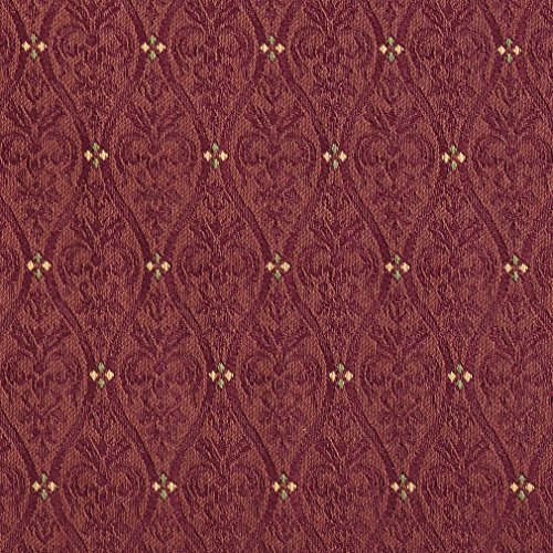 A484 Burgundy Waves Lines And Foliage Upholstery Fabric By The (High End Upholstery)