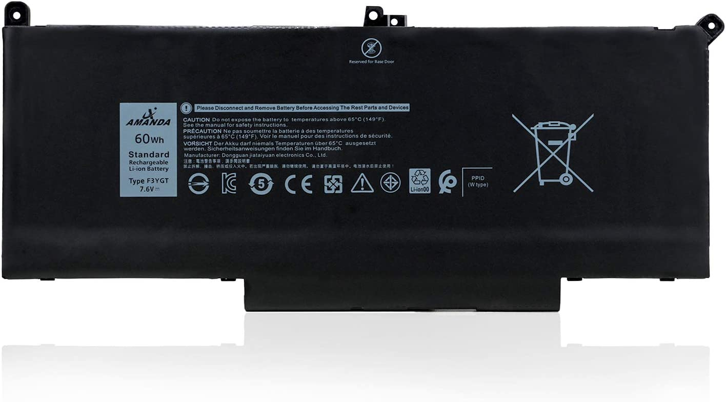 Amanda F3YGT Battery Replacement for Dell Latitude 12 7000 7280 7290/13 7000 7380 7390/14 7000 7480 7490 Series DM3WC 0DM3WC 2X39G 7.6V 60Wh 4-Cell