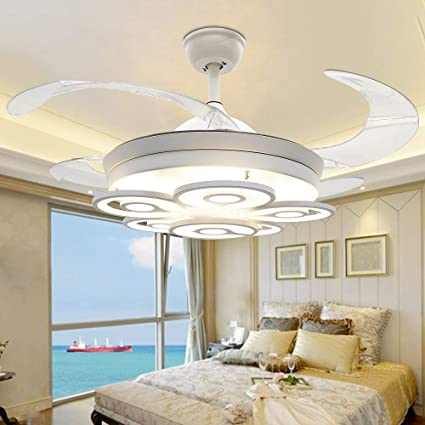 RS Lighting Fashion 6 Acrylic Circles Invisible Ceiling Fan 42 In Flower Lampshade 4 Retractable Blades