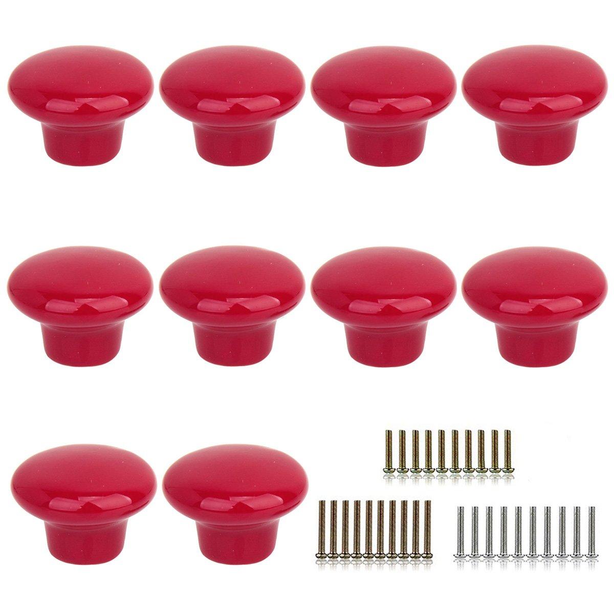 Monoshop 10pcs Vintage Ceramic Door Knobs Round Shape Drawer Cupboard Locker Pulls Handles Wardrobe Drawer Cabinet Home Kitchen Hardware (Red)