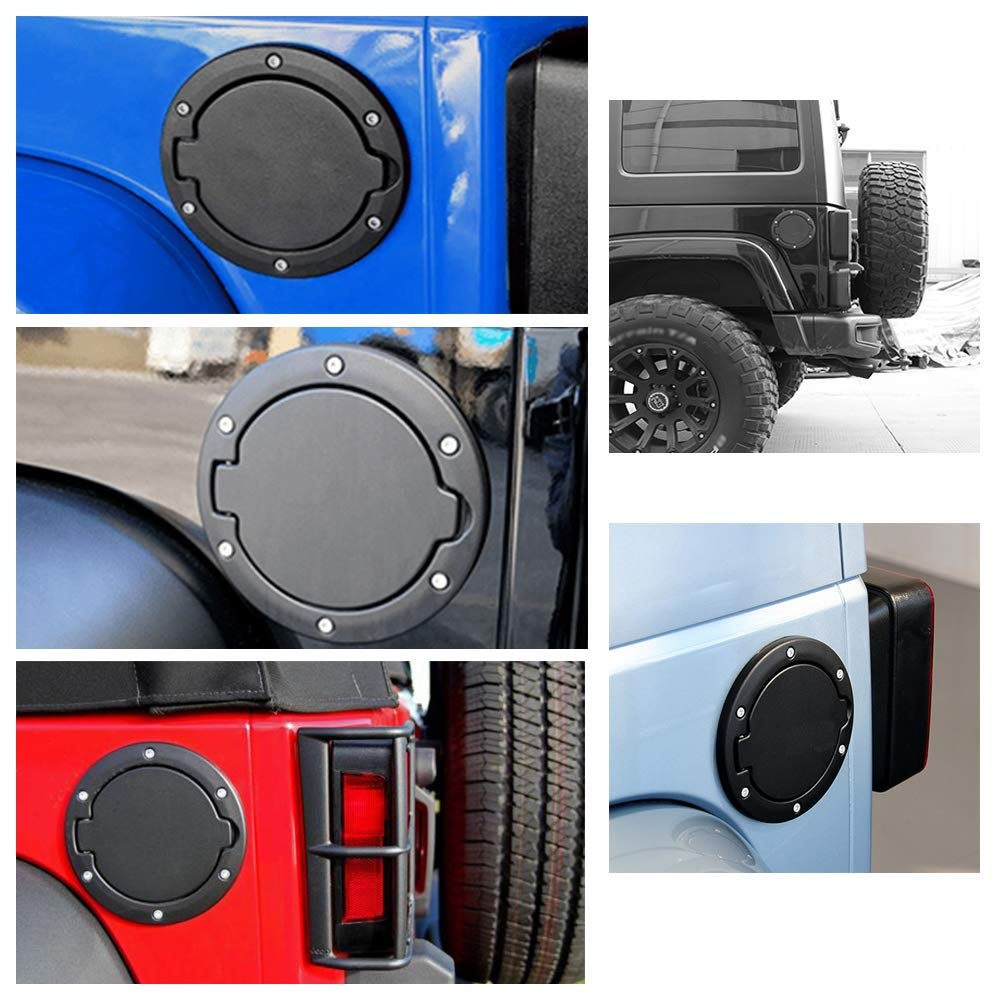 VVHOOY Gas Cap Fuel Filler Door Cover Car Fuel Tank Cover for Jeep Wrangler 2007-2017 JK /& Unlimited Sport Rubicon Sahara