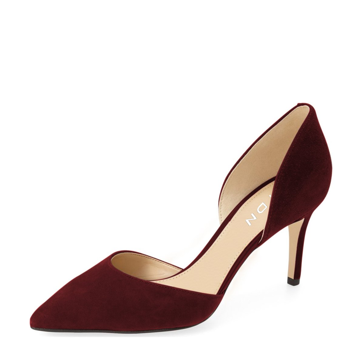 YDN Women Classic Low Heels D'Orsay Pumps Suede Pointed Toe Slip On Dressy Stilettos Shoes B01N7HQQES 15 B(M) US|Wine Red