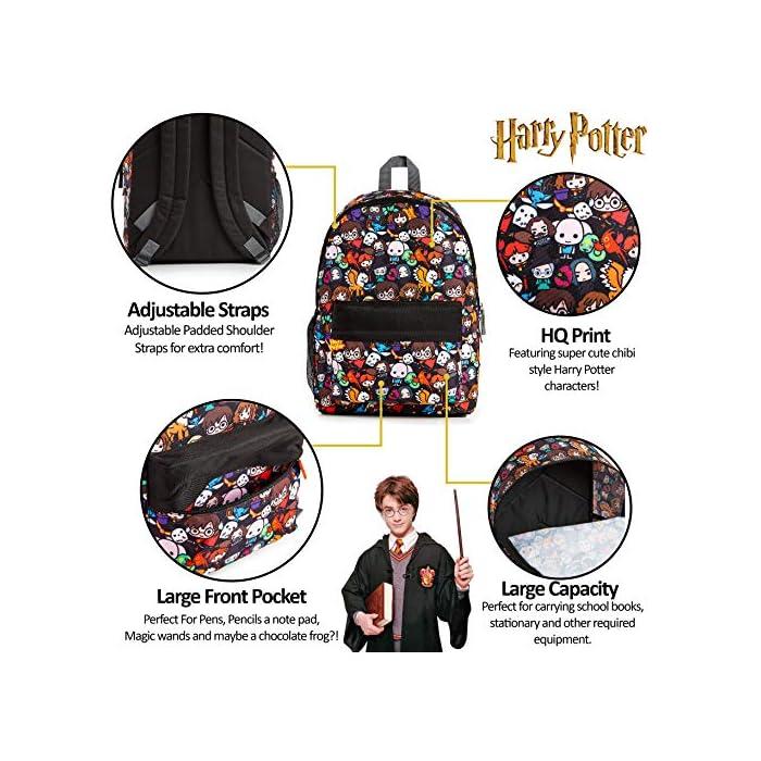 61oIaM0f9gL MOCHILA OFICIAL DE HARRY POTTER --- Nuestra mochila escolar para niños y adolescentes presenta a los personajes más populares de la película en un divertido estampado. Podrás encontrar a Dumbledore, Ron Weasley, Hermione Granger, Minerva, Hippogriff, Harry Potter y muchos más. Esta mochila grande también viene con correas ajustables acolchadas para mayor comodidad, un bolsillo lateral de malla elástica, bolsillo frontal con cremallera y un compartimento principal. MOCHILA DE GRAN CAPACIDAD --- Esta mochila de Harry Potter tiene espacio para guardar material escolar o ropa de deporte. Cuenta con un compartimento principal con cremallera, un bolsillo lateral de malla para bebidas, y un pequeño bolso en la parte delantera que pueden usar a modo de estuche escolar. Viene con correas acolchadas ajustables para máxima comodidad, por lo que es perfecta para todas las alturas. HARRY POTTER MERCHANDISING --- Nuestra mochila de Harry Potter tiene licencia oficial, por lo que no se preocupe, cuando compra a través de nosotros está adquiriendo un producto de calidad. Nuestra principal prioridad es siempre la satisfacción de nuestros clientes.