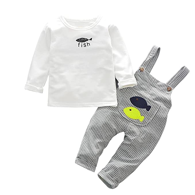 Yannerr 2pcs Bebé niño niña Peces camiseta tops+pantalones tirantes rayas conjunto,Recién nacido