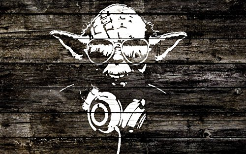 POP Home Store Star Wars Print Yoda Sunglasses Headphones Wood Graffiti Poster 24X36 Inch