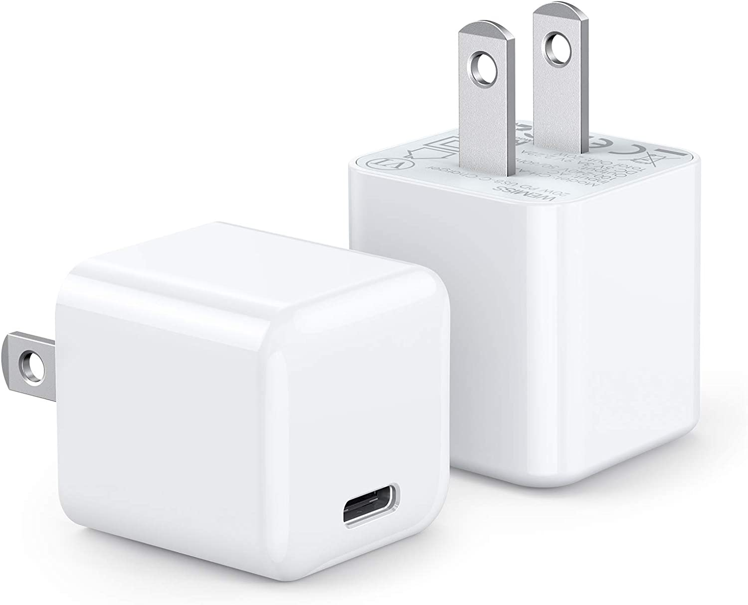 iPhone Fast Charger, WEMISS 2-Pack Mini 20W USB C Charger, Durable Compact PD Charger for iPhone 12/12 Pro/12 ProMax, 11/11 Pro/ 11 ProMax/XR/XS/X, Galaxy S10, iPad Pro (White 2)