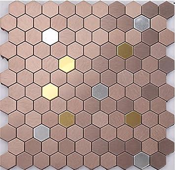 Uberlegen Sechseck Mix Elegante Farben Metall Self Stick Mosaik Fliesen Für Wand,  Aluminium