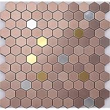 Hexagon mix elegant colors metal self-stick mosaic tiles for wall, Aluminium Plastic Panel Self Adhesive mosaic tiles sticker, 12x12/sheet, LSK04 (22 pieces | 22sq.ft/2 sqm)