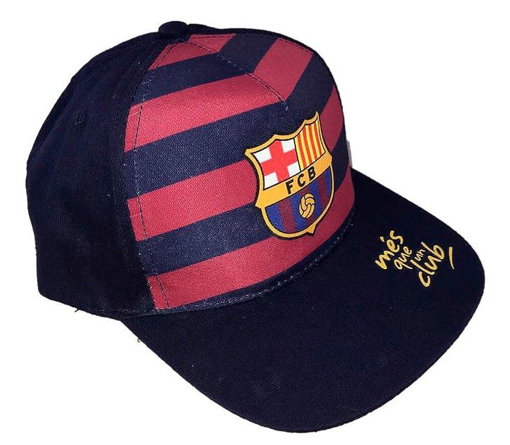 Con el escudo del club Gorro b/ásico oficial de punto FC Barcelona Azul