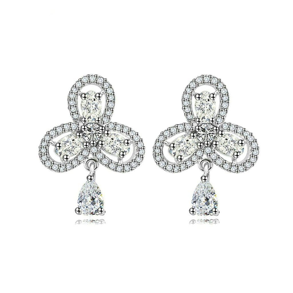 Bishilin Gold Plated Womens Stud Earring 3 Prong White Rhinestone Earring Orchids Oval Earrings