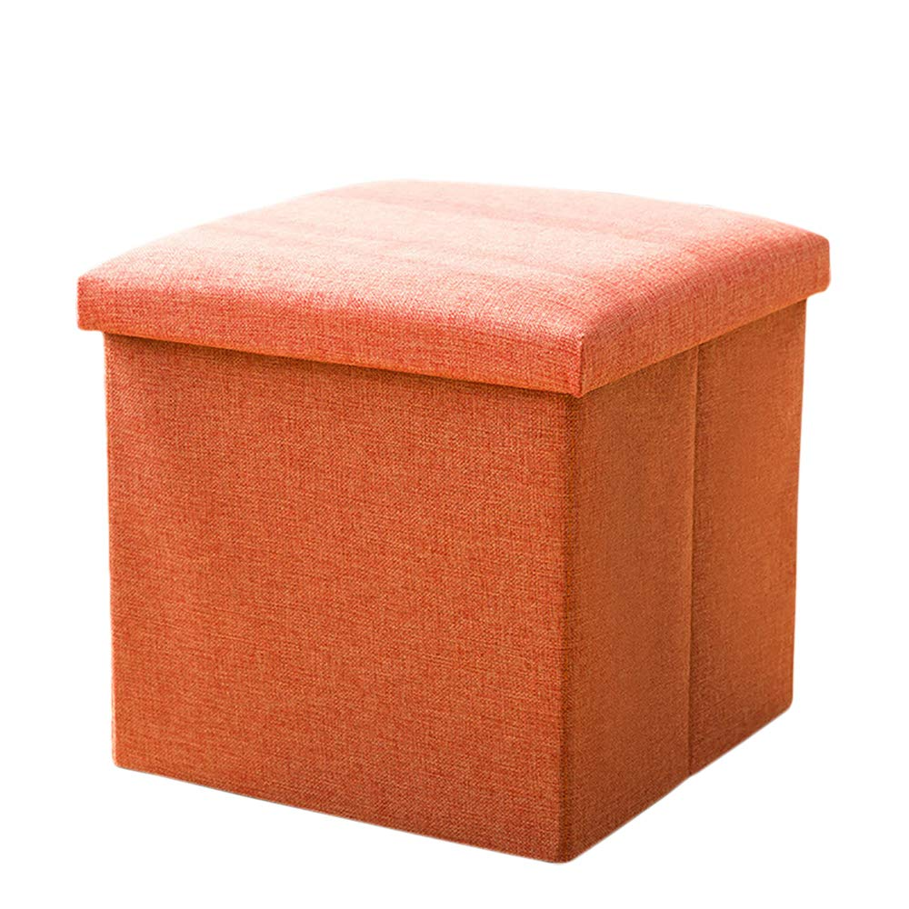 Storage Ottomans Foldable Storage Bench Ottoman Bench Seat Linen Foot Stool Storage Chest/Footrest/Padded Seat,Orange,38×38×38Cm