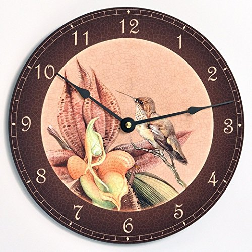 Vintage Victorian style bird and orchid 10 inch wall clock. Antique tan background with orange flower.