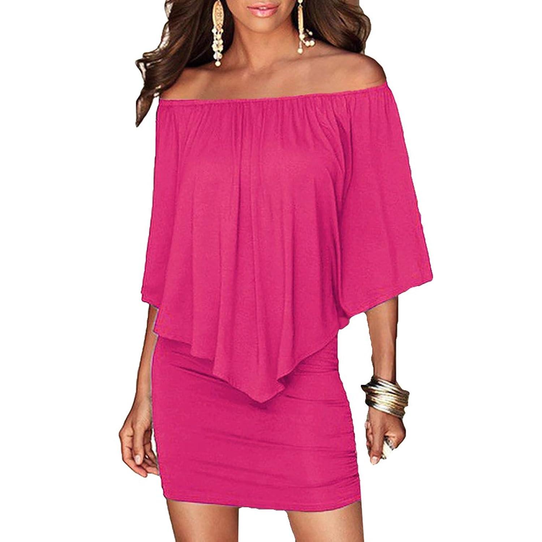 Juleya Mujeres Short Verano Vestir Vintage Asymmetrical Hem Elegant ...