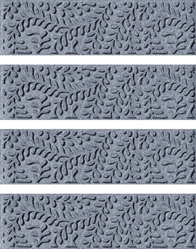 Recycled Stair Tread (Bungalow Flooring Waterhog, Set of 4 Stair Treads, Boxwood Collection, Skid Resistant, Catches Water and Debris, Easy to Clean, 8-1/2-Inches by 30-Inches, Ridged Floral Design, Bluestone)
