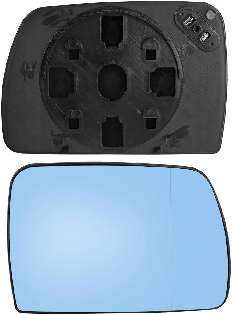 X AUTOHAUX Auto Rechts Spiegelglas mit Tr/ägerplatte Beheizt f/ür Automotoren Get/önt Blau