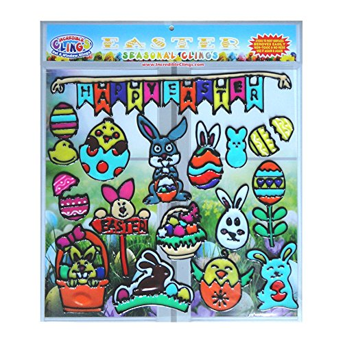 Price comparison product image Easter Holiday Gel Clings for Kids & Toddlers - 18 Piece Window and Wall Clings - Reusable and Removable Thick Strong Vinyl Gels - Easter Bunny,  Eggs,  Basket,  Chocolate and More!