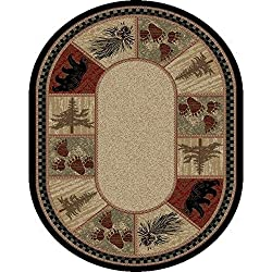 1 Piece 5'3 x 7'3 Brown Black Bear Pattern Oval Rug, Green Tan Bears Theme Oblong Carpet Pine Trees Wildlife Rustic Cabin Lodge Hunting Themed Carpeting Nature Patterned Country, Polypropylene