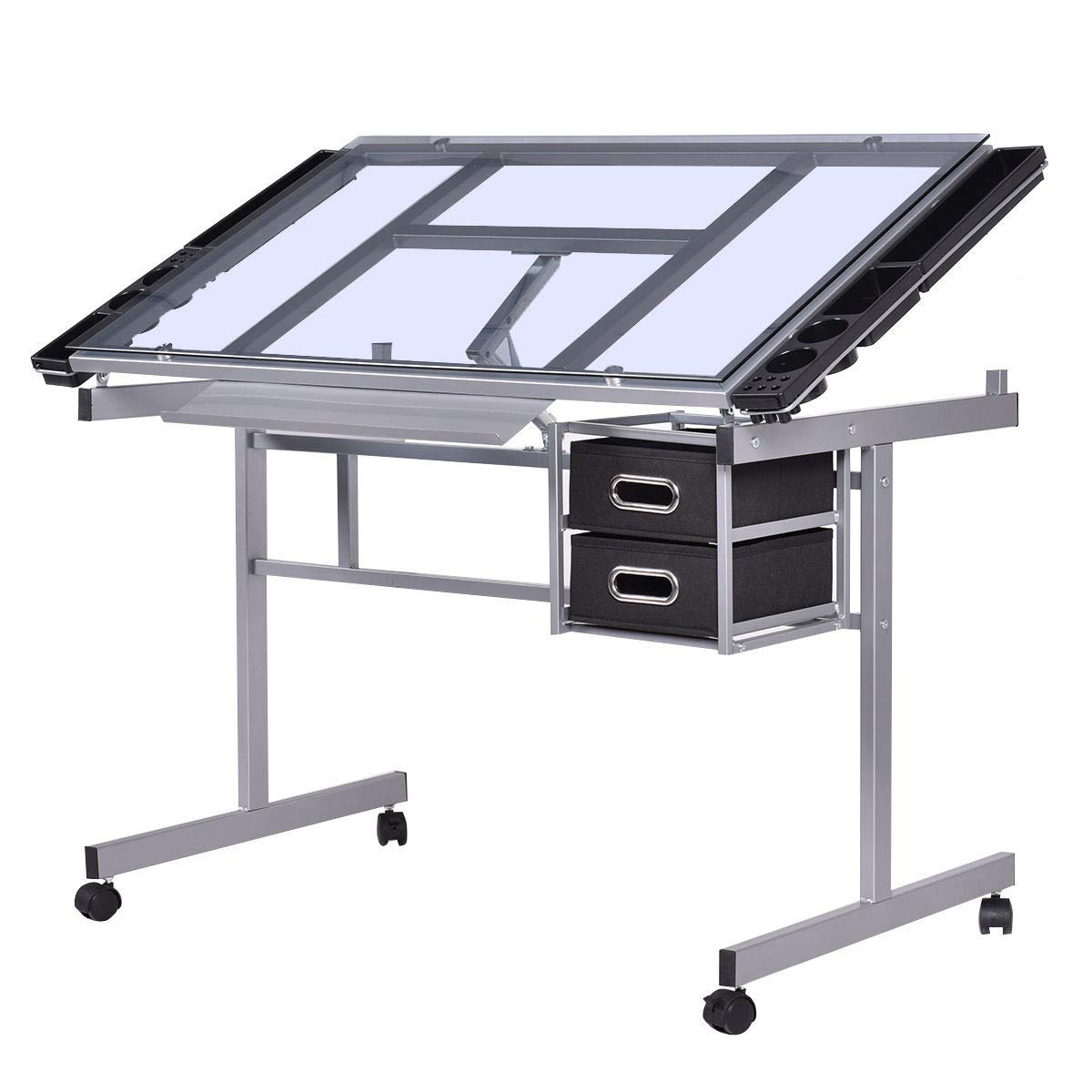 Drawing Desk Drafting Adjustable Rolling Table Tempered Glass Top Art Craft Worksation MD Group