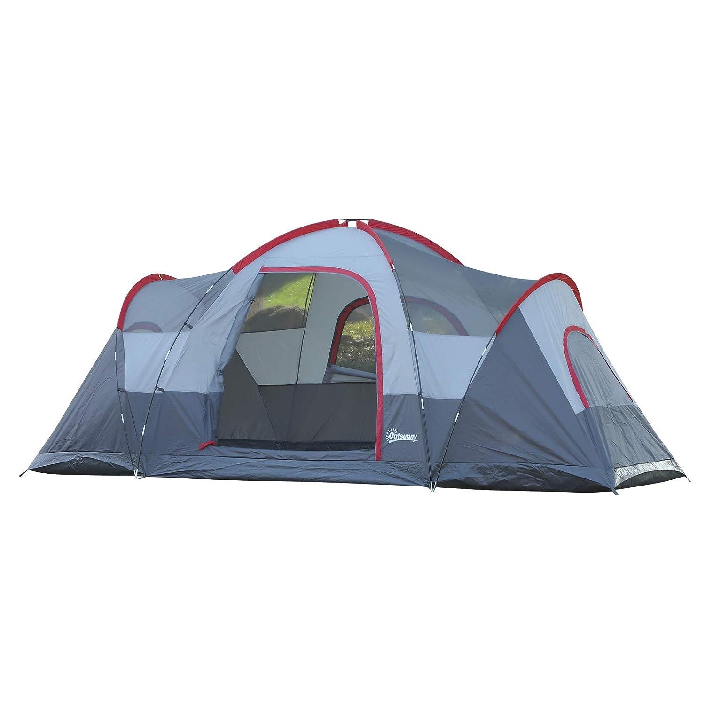 Outsunny Tienda de Campa/ña Familiar Grande con Bolsa de Transporte y Gancho para Luz de Camping 455x230x180 cm