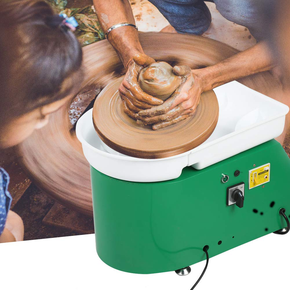 Electric Pottery Wheel Forming Machine, 24CM Brushless Pottery Wheel Machine DIY Clay Tool Art Craft for Student and Amateur, 110V 350W (Green)