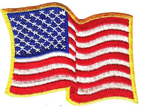 "AMERICAN FLAG WAVING, GOLD BORDER/ 3"" x 2"" Logo Sew Ironed O"