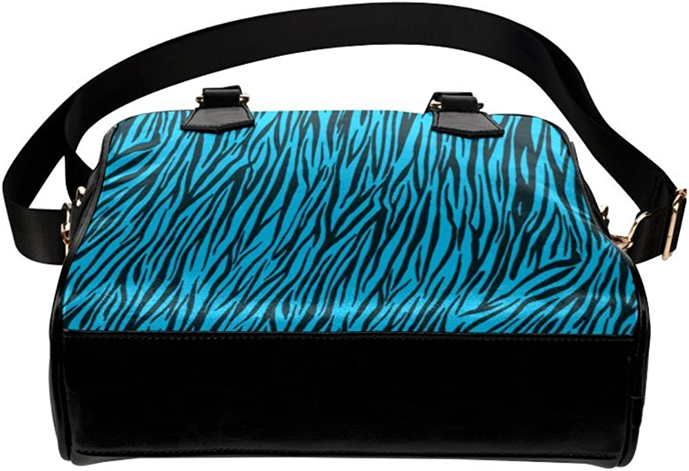 InterestPrint Shoulder Handbags Blue Zebra Stripes Animal Print Fur Shoulder Bag For Women