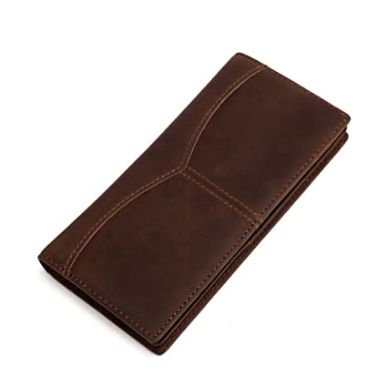 Asdflina Bien Artesanal Billetera de Hombre Billetera de Cuero para Hombre Billetera de Hombre Larga Billetera