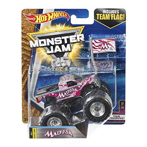 Hot wheels Monster Jam Tour Favorites 3/10 Madusa with Team Flag (Monster Madusa Jam)