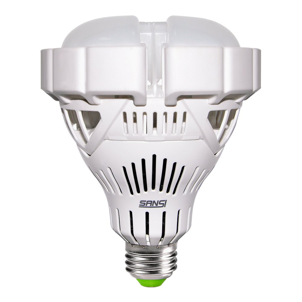 SANSI BR30 30W 250w-200w Equivalent LED Light Bulb Non-dimmable CRI 80 E26 Base 6500K Cool White 3000 lumems Flood Light for Garage Basement Factory Warehouse Church Barn Sport Hall